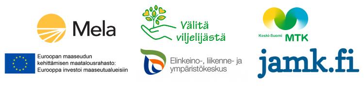 Logokollaasi Mela, Välitä viljelijästä -projekti, MTK Keski-Suomi, EU, ELY ja JAMK