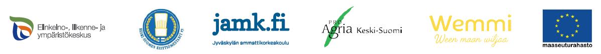 Logot ELY-keskus, Keski-Suomen Keittiömestarit, JAMK, ProAgria Keski-Suomi, Wemmi ja EU