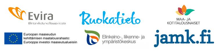 Logokollaasi Evira, Ruokatieto, Maa- ja kotitalousnaiset, EU, ELY ja JAMK