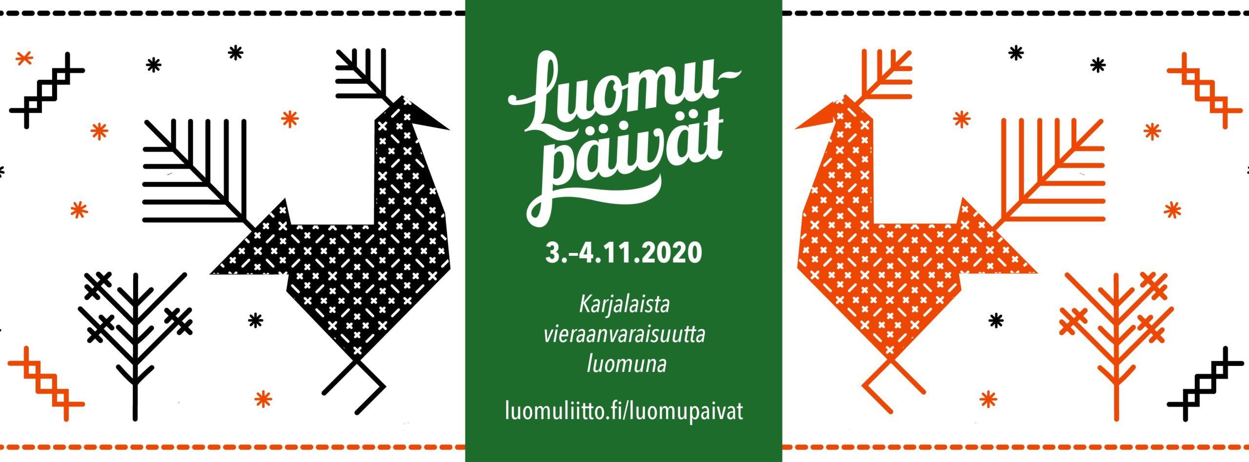 """Luomupäivät 2020 -tapahtuman logo ja slogan: """"Karjalaista vieraanvaraisuutta luomuna""""."""